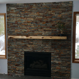 Stone faced fireplace