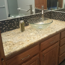 Remodeled bathroom countertop