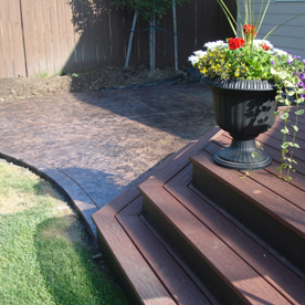 Wooden deck and concrete